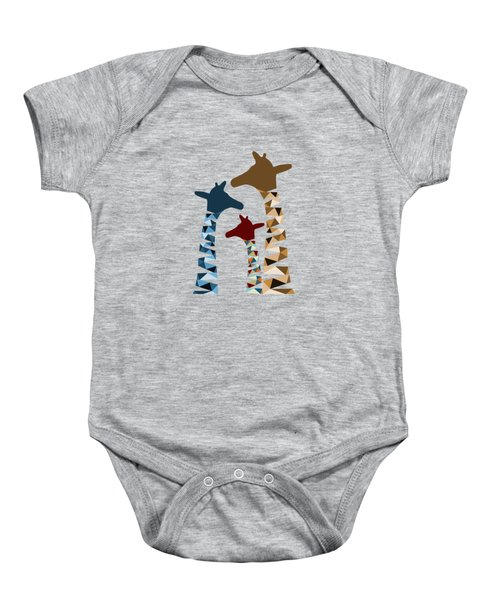 Abstract Colored Giraffe Family Baby Onesie by Brigitte Carre