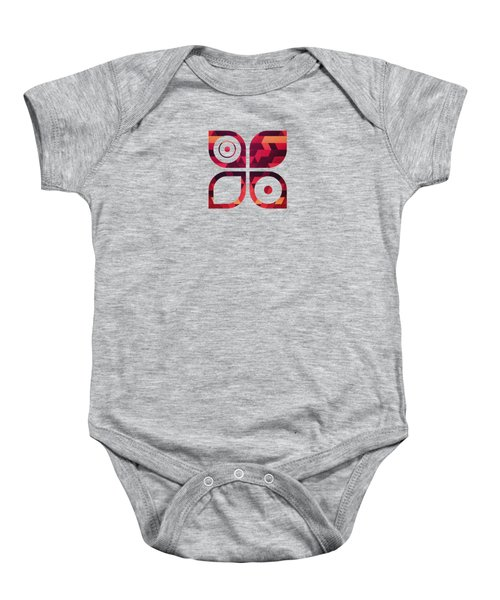 Abstract  Geometric Triangle Texture Pattern Design In Diabolic Future Red Baby Onesie