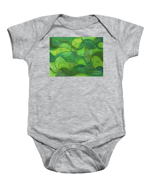 Abstract Green Wave Connection Baby Onesie