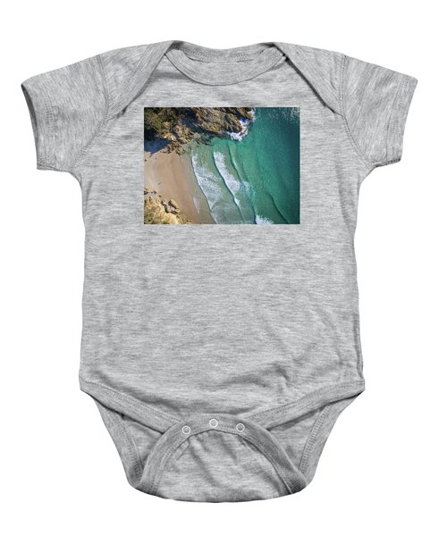 Aerial Shot Of Honeymoon Bay On Moreton Island Baby Onesie