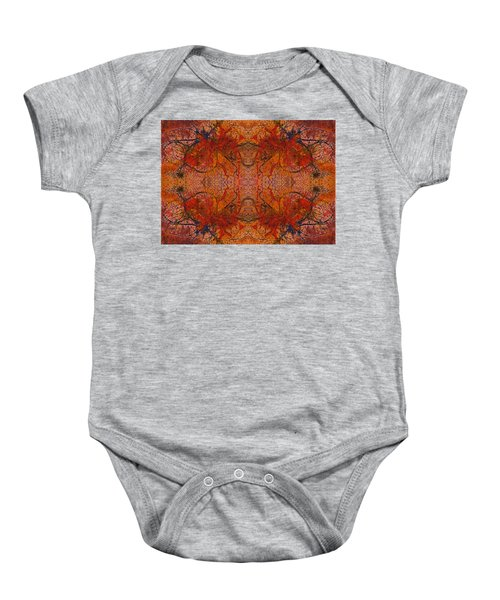 Aflame With Flower Quad Hotwaxed Version Of Acrylic/watercolour Baby Onesie