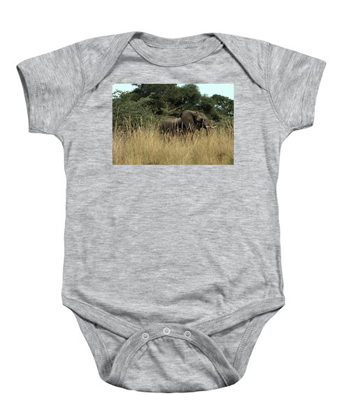 African Elephant In Tall Grass Baby Onesie