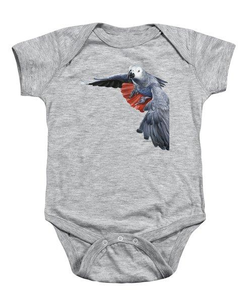 African Grey Parrot Flying Baby Onesie