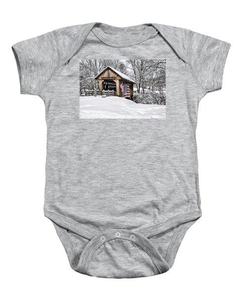 After A Winter Snow Storm Cilleyville Covered Bridge  Baby Onesie