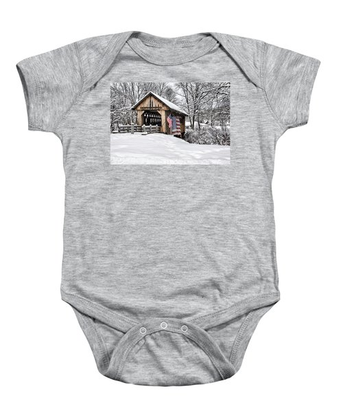 After A Winter Snow Storm Cilleyville Covered Bridge  Baby Onesie