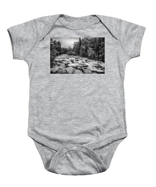Alaskan Stream In Black And White Baby Onesie