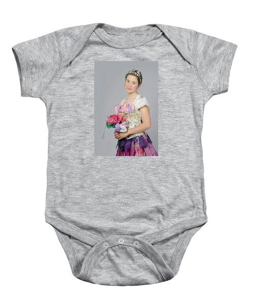 Alegra In Paper Floral Dress Baby Onesie