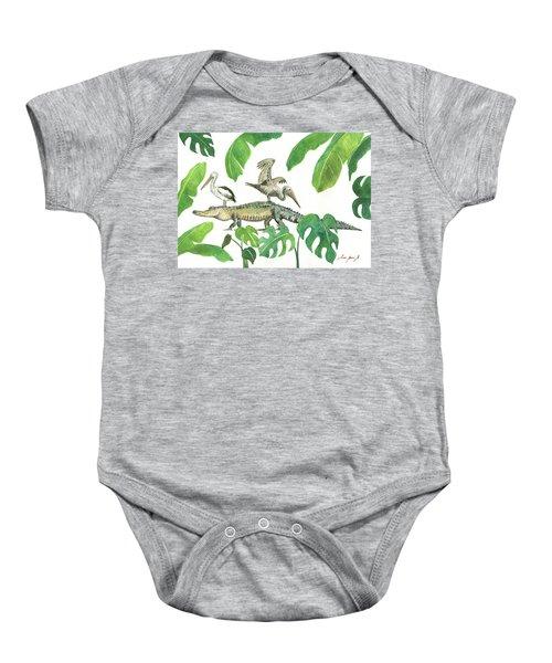 Alligator And Pelicans Baby Onesie