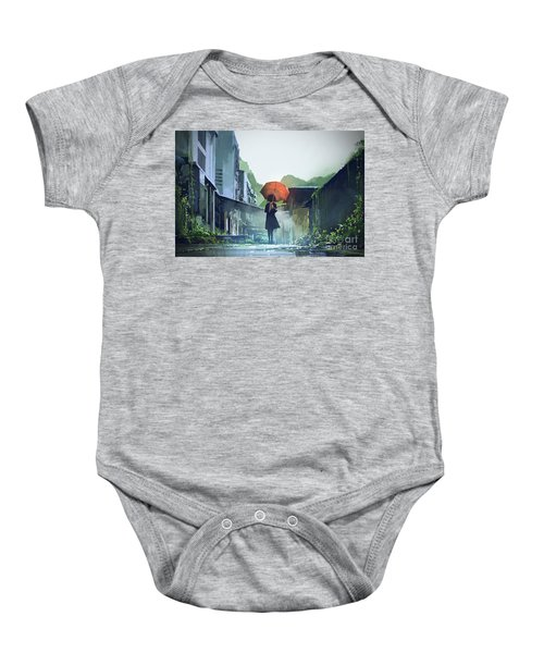 Baby Onesie featuring the painting Alone In The Abandoned Town by Tithi Luadthong
