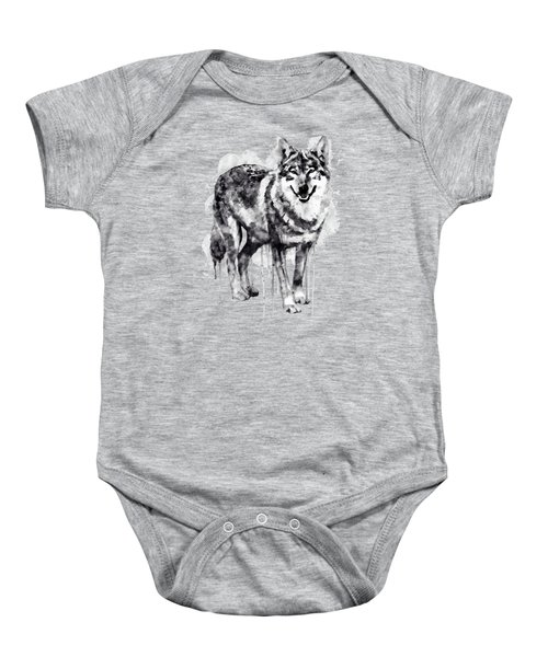 Alpha Wolf Black And White Baby Onesie