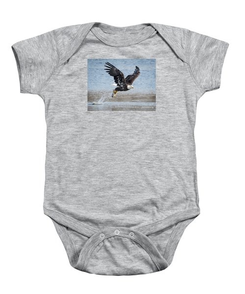 American Bald Eagle Taking Off Baby Onesie by Ricky L Jones