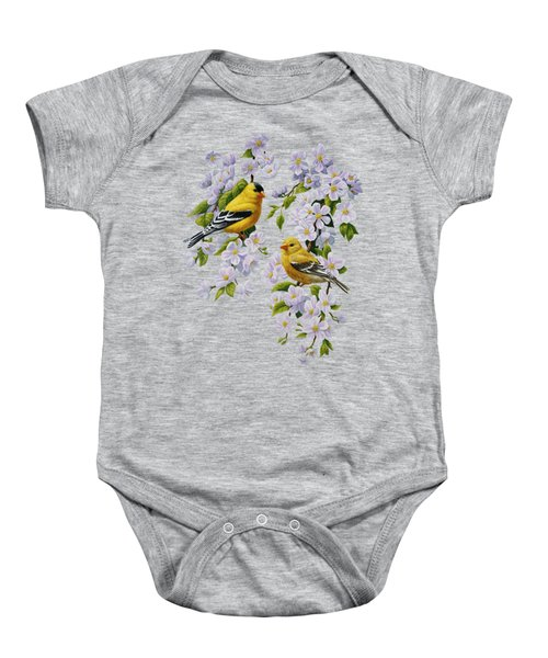 American Goldfinches And Apple Blossoms Baby Onesie
