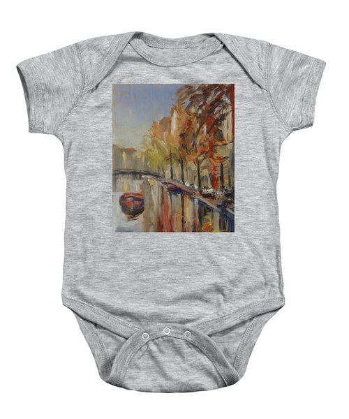 Amsterdam Autumn With Boat Baby Onesie