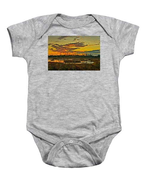 An November Sunset In The Pines Baby Onesie