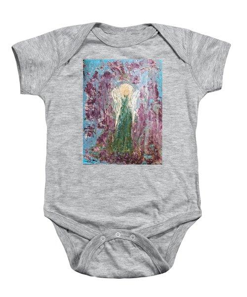 Angel Draped In Hydrangeas Baby Onesie