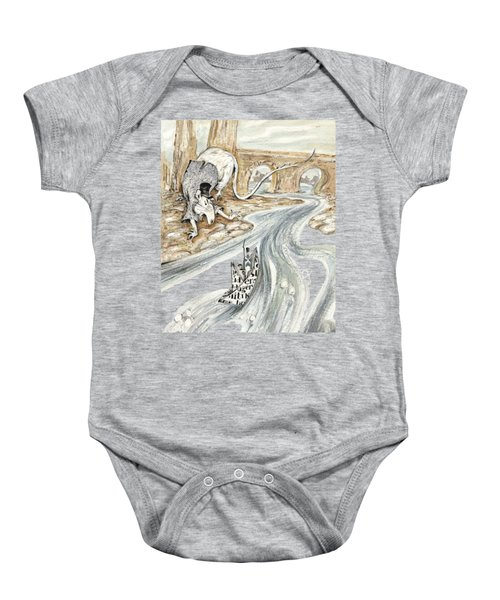 Angry Rat Pursuing Tin Soldier's Paper Boat - Tall Panoramic - Illustration Fragment Baby Onesie