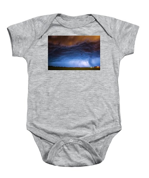 Another Impressive Nebraska Night Thunderstorm 008/ Baby Onesie