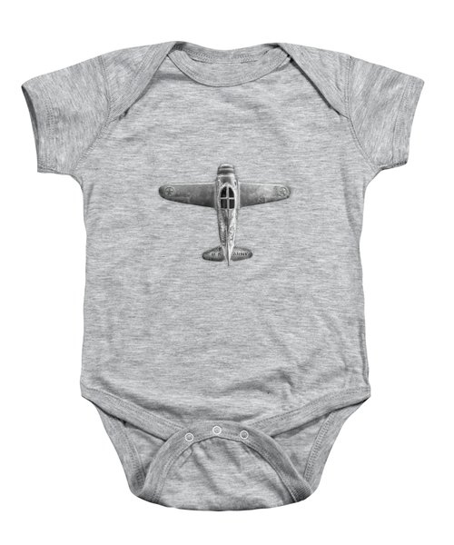 Antique Toy Airplane Floating On White In Black And White Baby Onesie