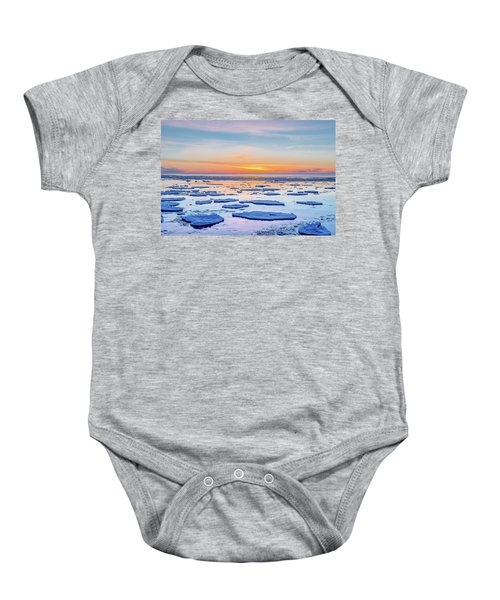 April Sunset Over Lake Superior Baby Onesie