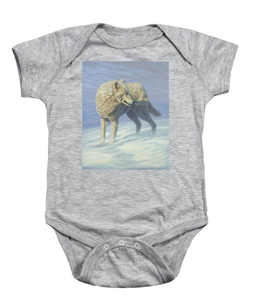 White Wolf In Blowing Snow, Acrylic Painting, Canine Baby Onesie