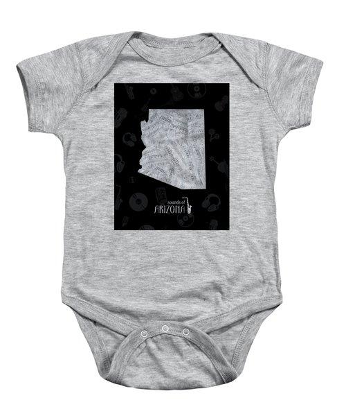 Arizona Map Music Notes 2 Baby Onesie