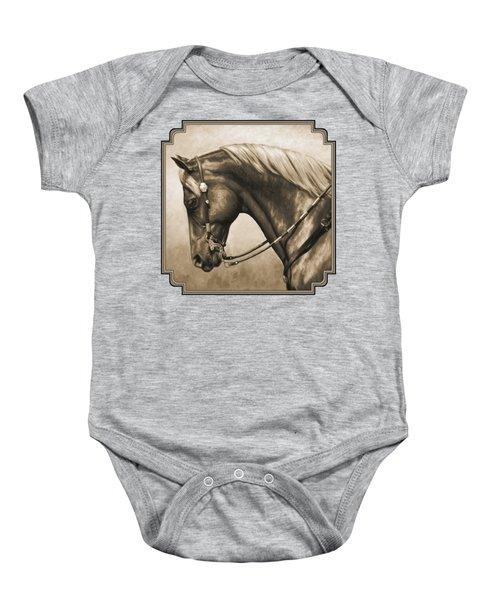 Western Horse Painting In Sepia Baby Onesie