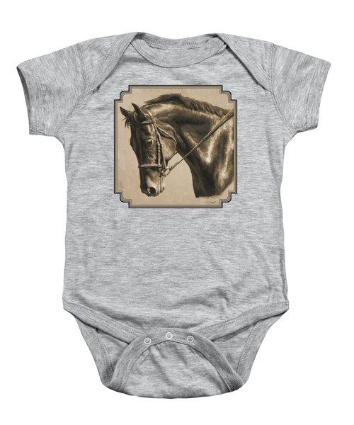 Horse Painting - Focus In Sepia Baby Onesie