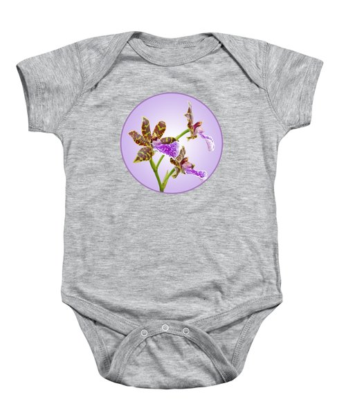 Bold And Beautiful - Zygopetalum Orchid Baby Onesie by Gill Billington