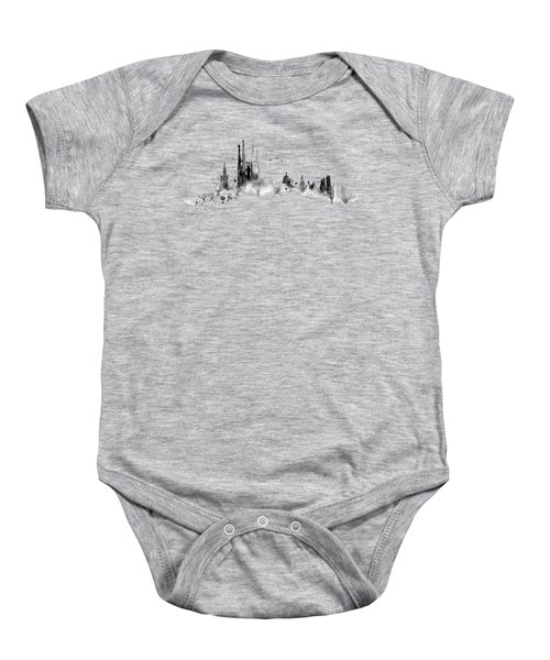 White Barcelona Skyline Baby Onesie by Aloke Creative Store