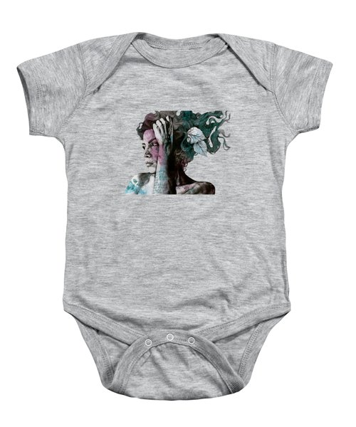 Beneath Broken Earth - Street Art Drawing, Woman With Leaves And Tattoos Baby Onesie