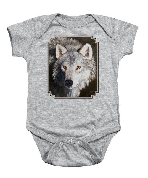 Wolf Portrait Baby Onesie by Crista Forest