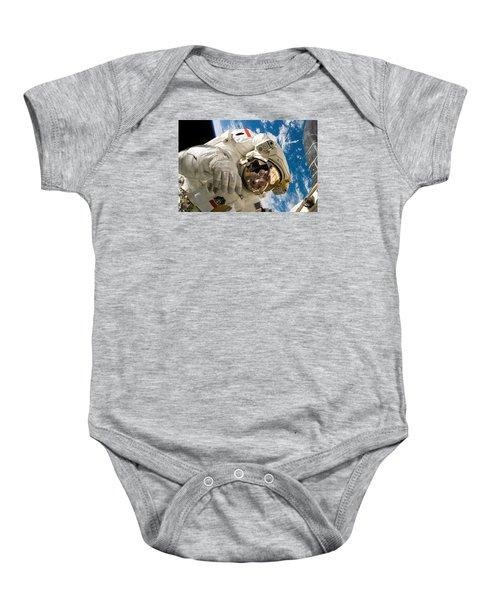 Astronaut During The Third Spacewalk Of Sts-121 Baby Onesie