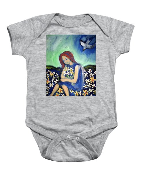 Baby Onesie featuring the painting At Peace by Winsome Gunning