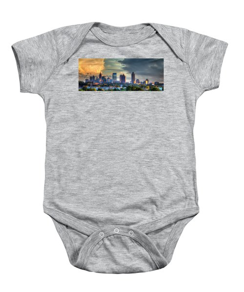 Atlanta Sunset Panorama Cityscape Art Baby Onesie