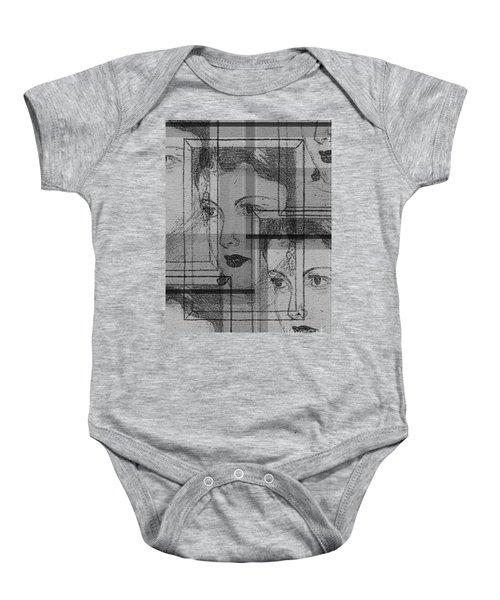 Aunt Edie Black And White Print Baby Onesie