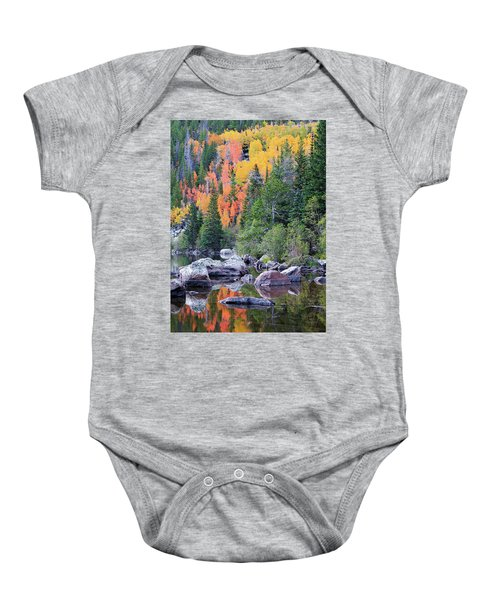 Autumn At Bear Lake Baby Onesie by David Chandler