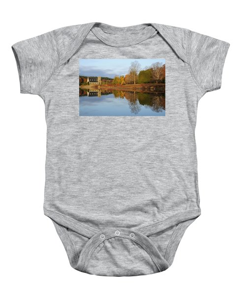 Autumn At The Old Stone Church Baby Onesie