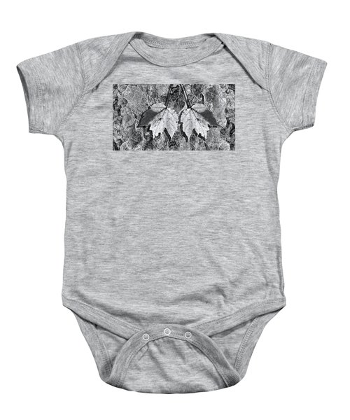 Autumn Leaf Abstract In Black And White Baby Onesie