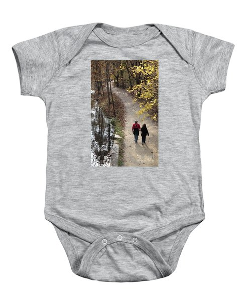 Autumn Walk On The C And O Canal Towpath With Oil Painting Effect Baby Onesie