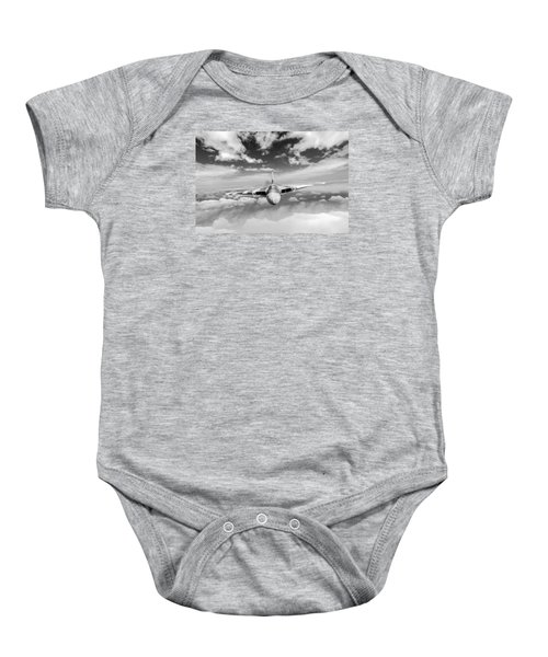 Baby Onesie featuring the digital art Avro Vulcan Head On Above Clouds by Gary Eason
