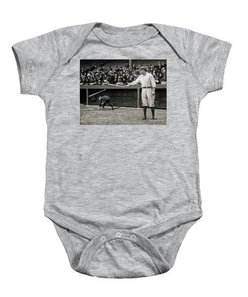 Babe Ruth At Bat Baby Onesie