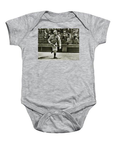 Babe Ruth Pitching Baby Onesie by Jon Neidert
