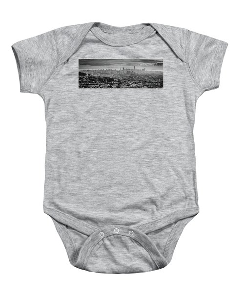 Back And White View Of Downtown San Francisco In A Foggy Day Baby Onesie