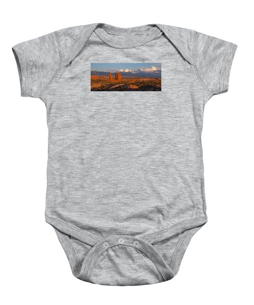 Balanced Rock And Summer Clouds At Sunset Baby Onesie