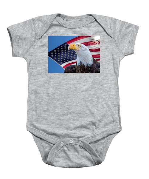 Bald Eagle And American Flag Baby Onesie