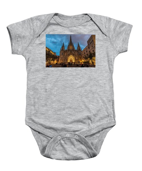 Barcelona Cathedral At Dusk Baby Onesie