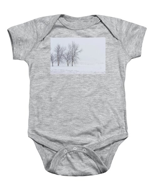 Bare Trees In A Snow Storm Baby Onesie