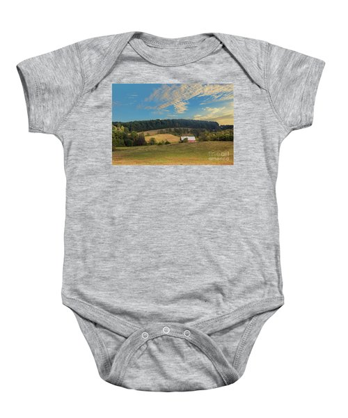 Barn In Field Baby Onesie