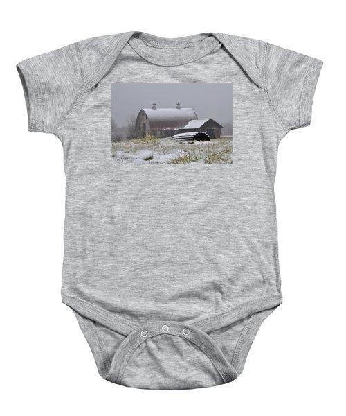 Barn In Winter Baby Onesie