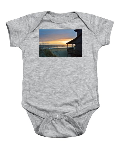 Beach Cottage Sunrise  Baby Onesie
